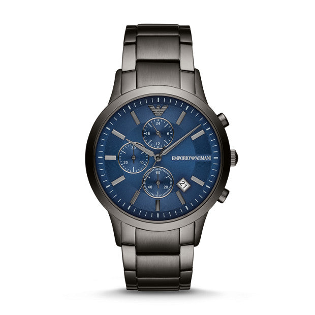 EMPIRO ARMANI GENTS BLUE GUN METAL BRACELET