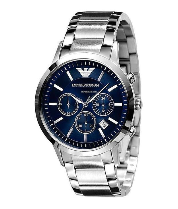 CHRONOGRAPH NAVY BLUE DIAL STEEL BRACELET MENS WATCH