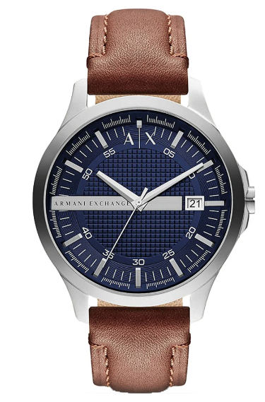 AX HAMPTON WATCH BLUE DIAL BROWN LEATHER STRAP