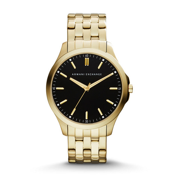 HAMPTON BLACK WITH CONTRAST GOLD ACCENTS AND THREE HAND MOVEMENT