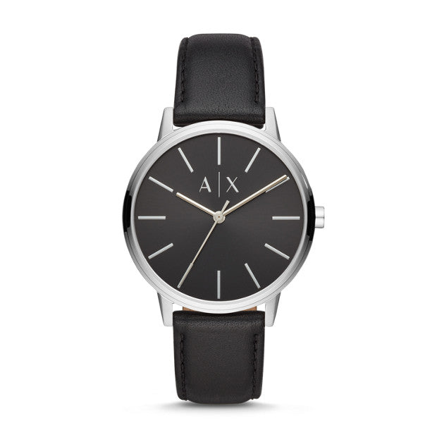 MEN'S THREE-HAND BLACK LEATHER WATCH