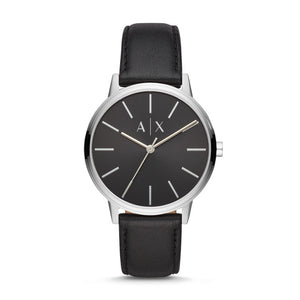 MENS THREE-HAND BLACK LEATHER WATCH