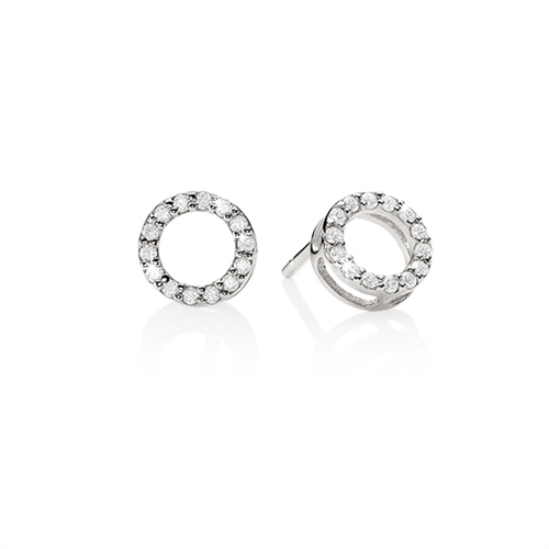 MP5665 S/S CZ SET OPEN CIRCLE STUDS