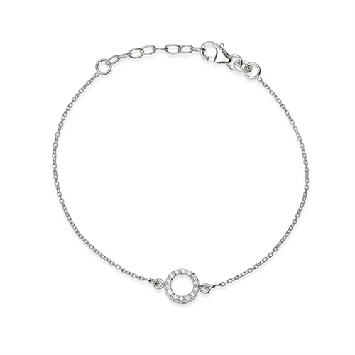 MP5666 S/S CZ SET OPEN CIRCLE 19CM BRACELET