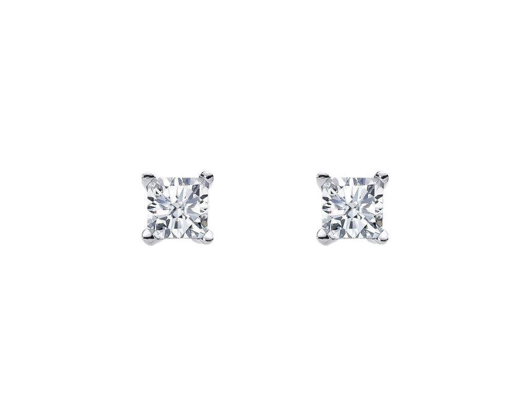 S/S 5MM PRINCESS WH CZ CLAW STUDS