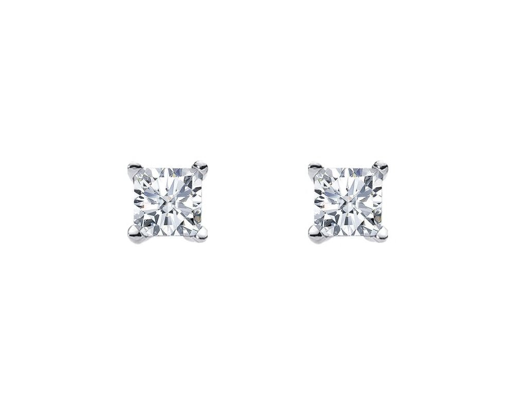 S/S 6MM PRINCESS WH CZ CLAW STUDS