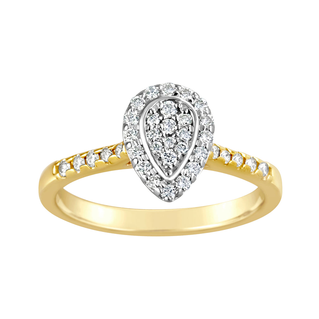 9CT 2TONE DIAMOND PEAR SHAPE RING TDW 0.34CT RBC