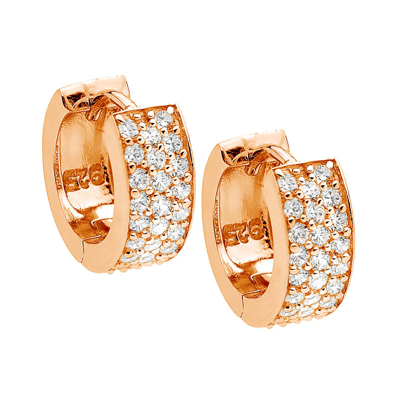 S/S WH CZ 3 ROW PAVE HUGGIE EARRINGS W/ RG PLATING