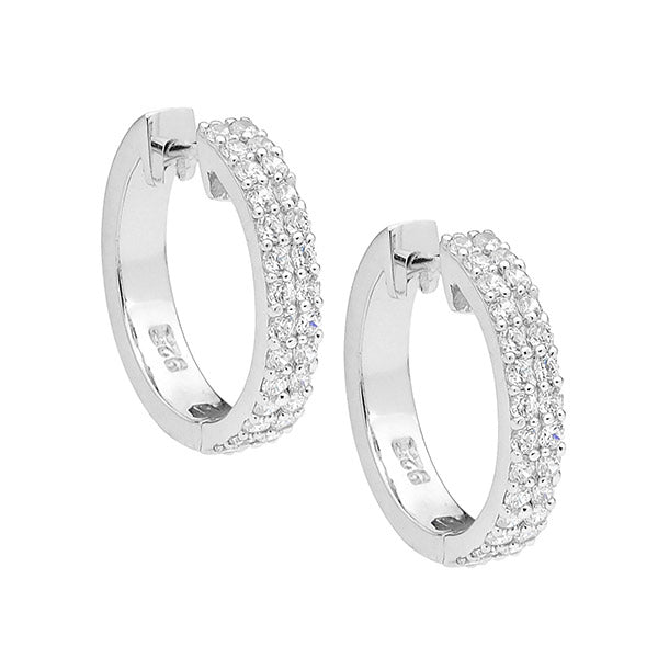 S/S WH CZ 2 ROW 1.8MM HOOPS - RRP $129
