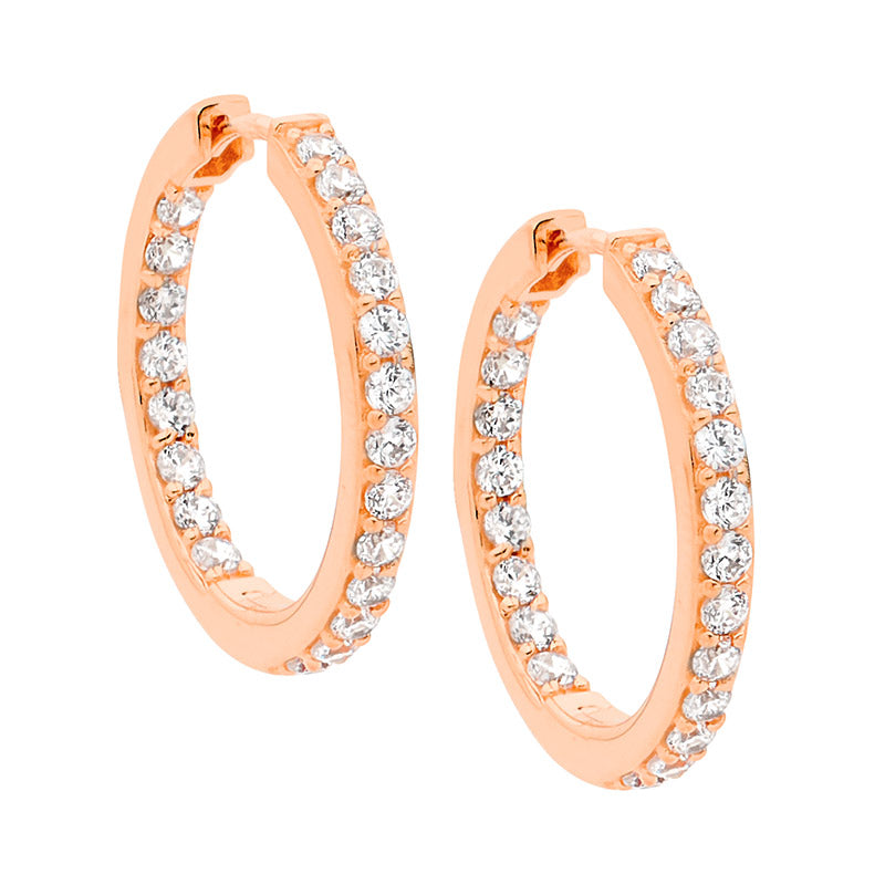 S/S WH CZ INSIDE OUT 23MM RND RG PLATED HOOPS