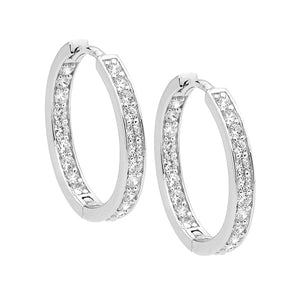 S/S WH CZ SINGLE ROW INSIDE OUT 18MM HOOP EARRINGS