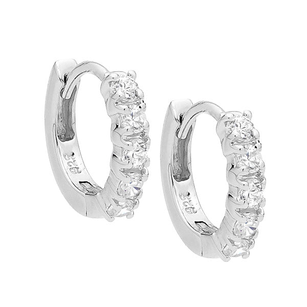 S/S WH CZ 10MM HOOP EARRINGS