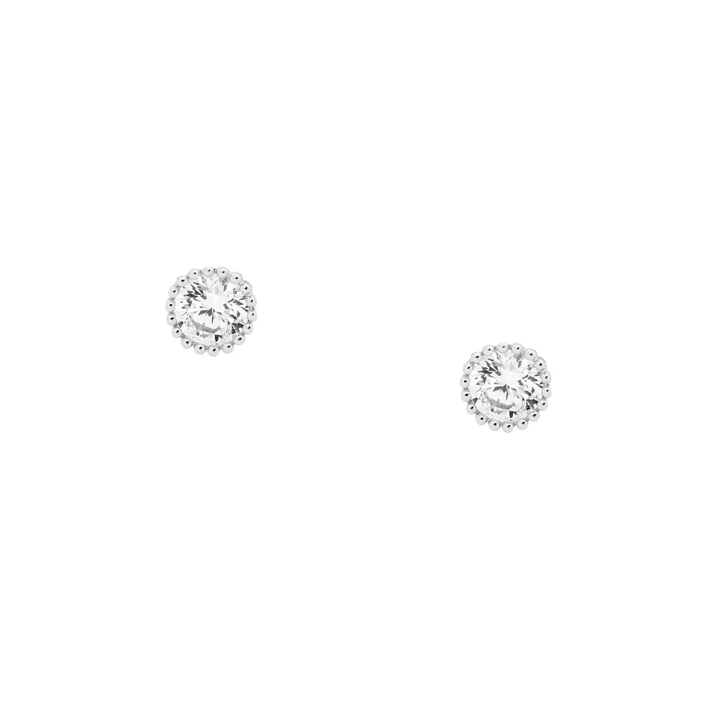 S/S 5MM WH CZ CROWN SET EARRINGS