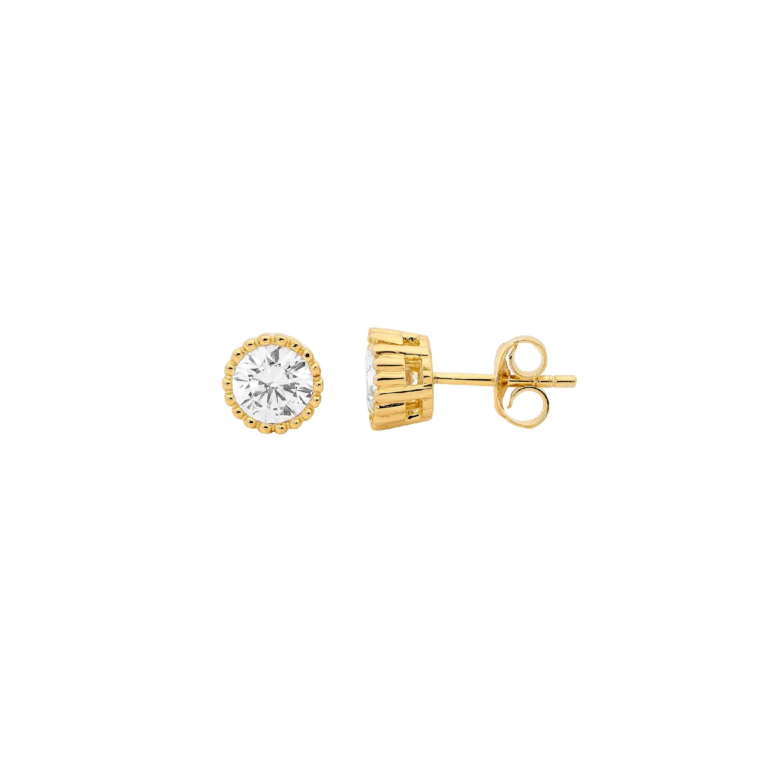S/S 4MM WH CZ CROWN SET EARRINGS W/ GOLD PLATING -