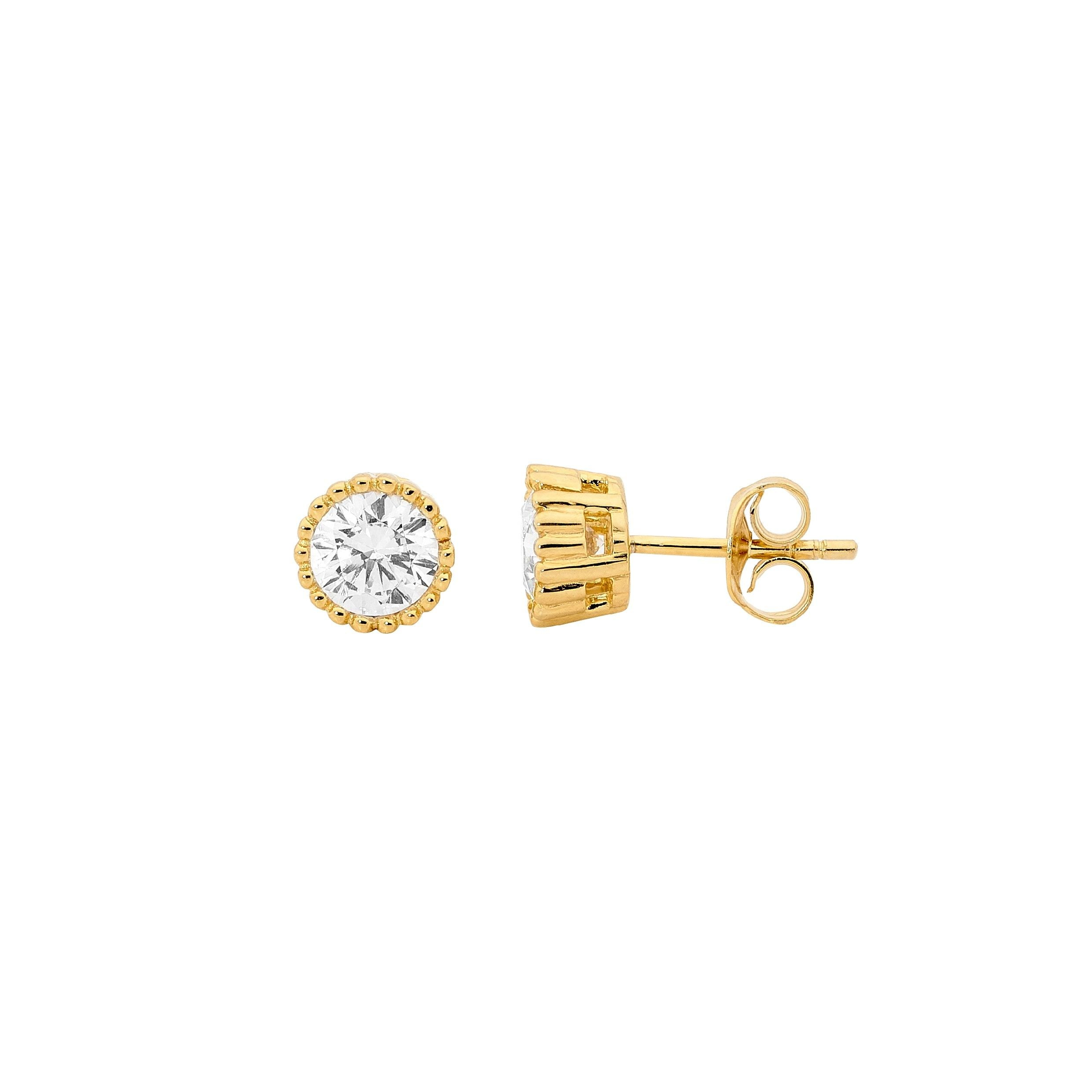 S/S 5MM WH CZ CROWN SET EARRINGS W/ GOLD PLATING