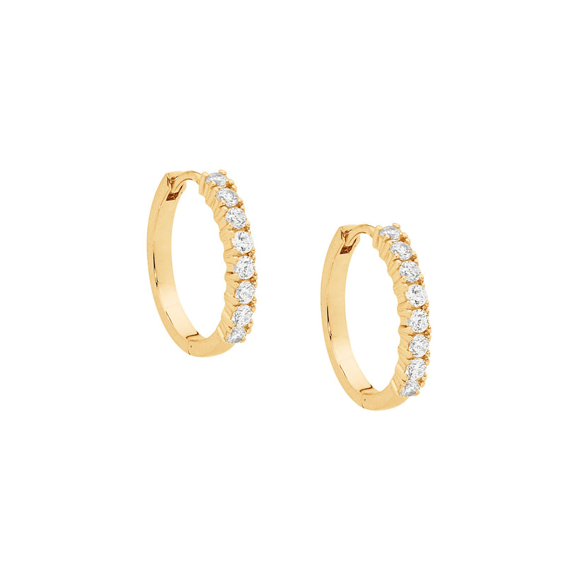 S/S WH CZ 15MM HOOP EARRINGS W/ GOLD PLATING