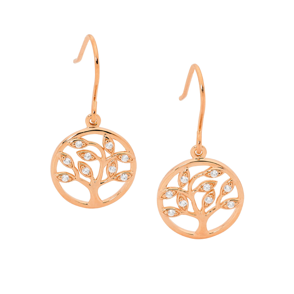 S/S WH CZ TREE OF LIFE EARRINGS ON SHP/HOOK W/ RG PLATING