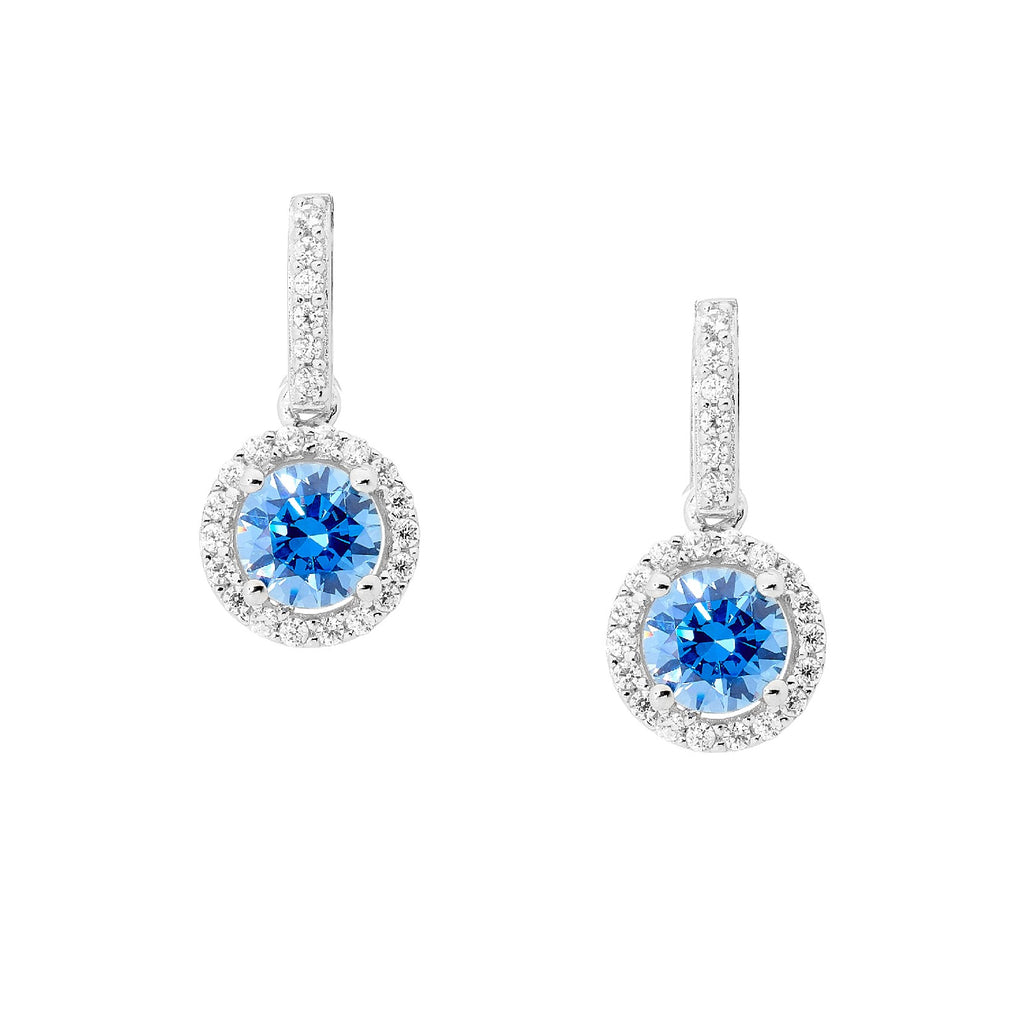 S/S 6MM ROUND FANCY BLUE CZ DROP EARRINGS W/ WH CZ SURROUND