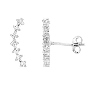 S/S WH CZ X 7 CLAW SET, CURVED ROW STUDS -