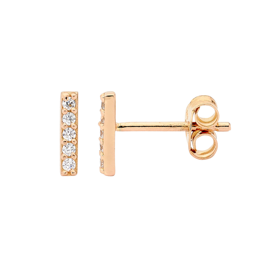 S/S WH CZ 8MM BAR EARRINGS W/ GOLD PLATING