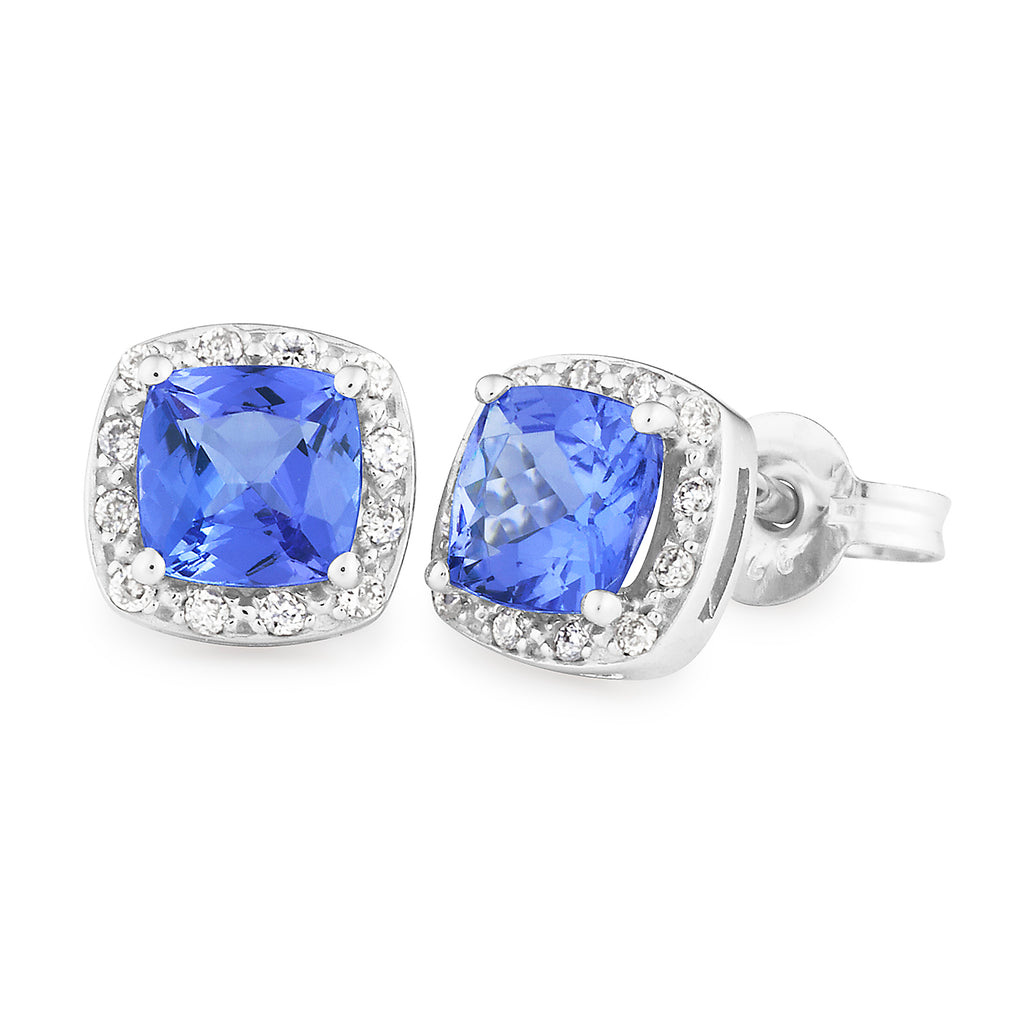 TANZANITE & DIAMOND (SI3 JK) CLAW/BEAD SET STUD EARRING IN 9CT WHITE GOLD TDW 0.12CT