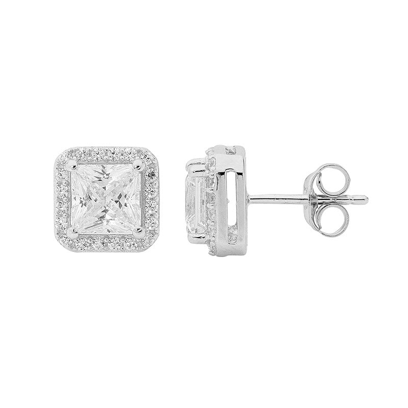 S/S WH CZ 6X6 PRINCESS CUT, CZ SURROUND EARRINGS