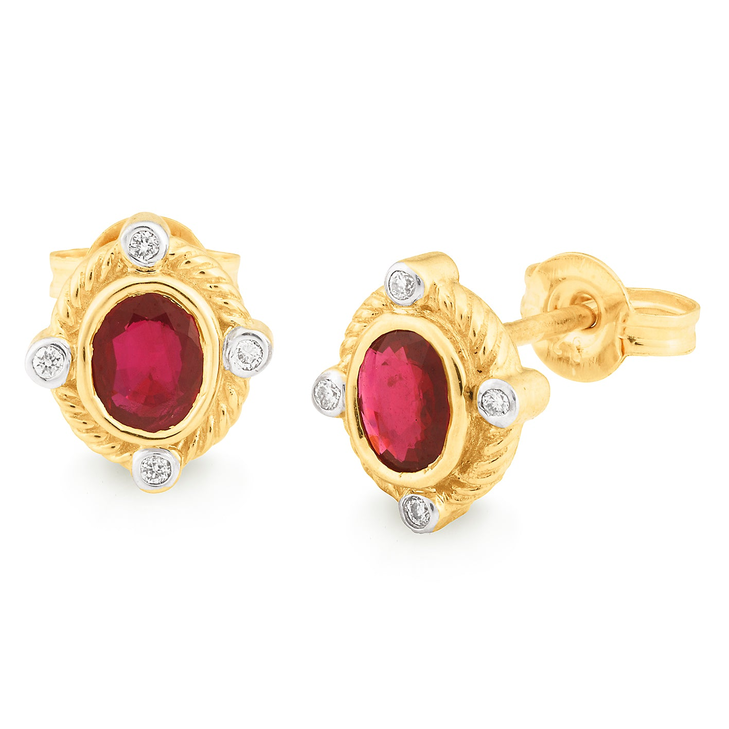 RUBY (B GRADE) & DIAMOND (SI3 JK) BEZEL SET STUD EARRING IN 9CT YELLOW GOLD TDW 0.04CT