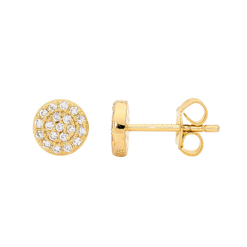 S/S WH CZ PAVE 7MM CIRCLE STUD EARRINGS W/ GOLD PLATING -