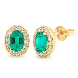 SYNTHETIC EMERALD & DIAMOND (SI3 JK) CLAW/BEAD SET STUD EARRING IN 9CT YELLOW GOLD TDW 0.15CT