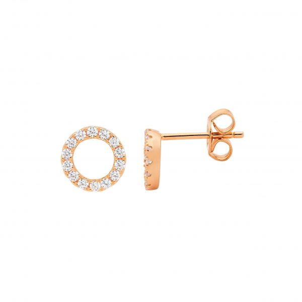 S/S WHITE CZ 8MM OPEN CIRCLE EARRINGS W/ ROSE GOLD PLATING