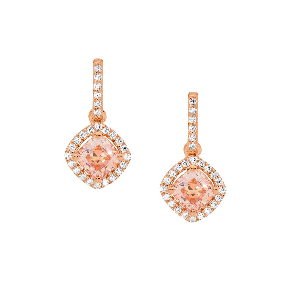 S/S MORGANITE CZ CUSHION CUT, CZ SURROUND DROP EARRINGS W/RG PLATING