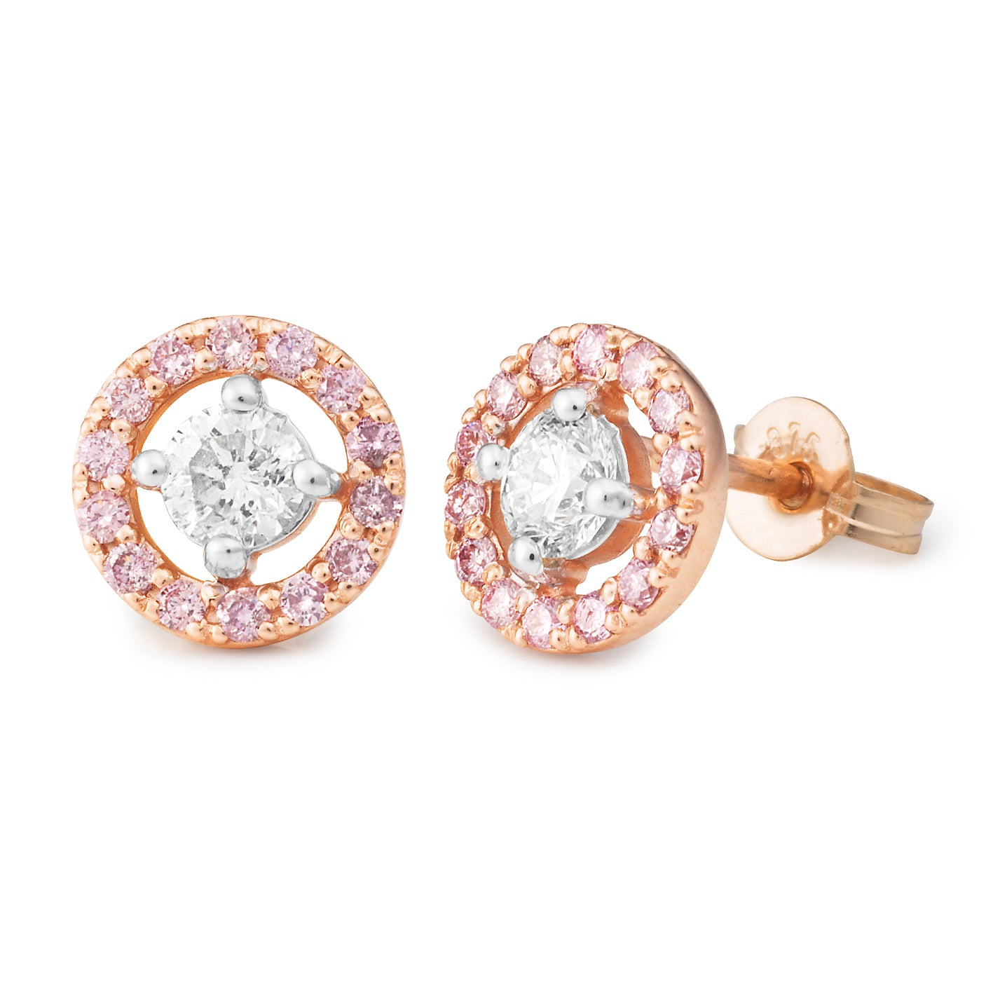 DIAMOND CLAW/BEAD SET EARRING PINK CAVIAR IN 9CT ROSE GOLD (SI3 JK) TDW 0.78CT