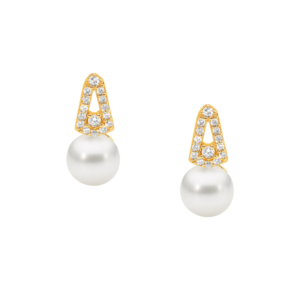 S/S WH CZ OPEN DROP V STUD EARRINGS W/FRESHWATER PEARL & GOLD PLATING