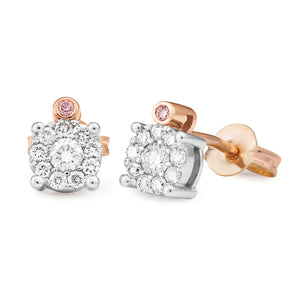 DIAMOND CLAW/BEAD SET EARRING PINK CAVIAR IN 9CT ROSE GOLD (SI3 JK)  TDW 0.32CT