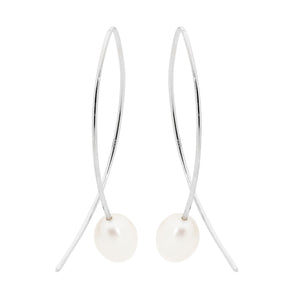 S/S DROP CROSSOVER EARRINGS W FWP