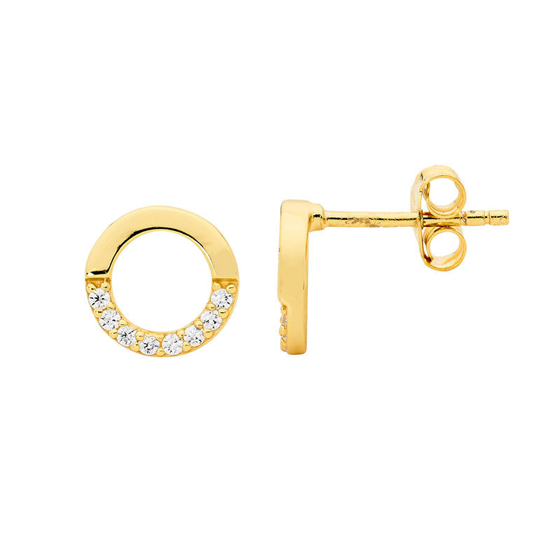 S/S 9MM OPEN CIRCLE EARRINGS, HALF WH CZ W/ GOLD PLATING -