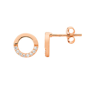 S/S 9MM OPEN CIRCLE EARRINGS, HALF WH CZ W/ RG PLATING -