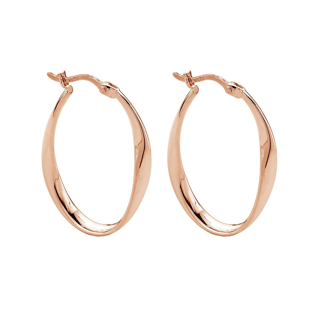 3X28MM ROSE GOLD (14K 1MC) PLATED SILVER RIBBON OVAL HOOP WITH LEVER CLASP, ANTITARNISH