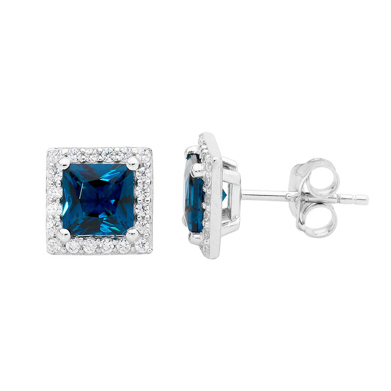 S/S LONDON BLUE 6MM PRINCESS CZ & WH CZ SURROUND EARRINGS -