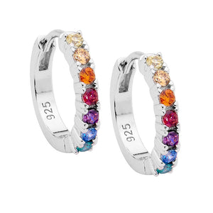 S/S MULTI COLOUR CZ 14MM HOOP EARRINIGS