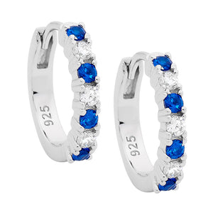 S/S 14MM HOOP EARRINGS W/ WHITE & DARK BLUE CZ