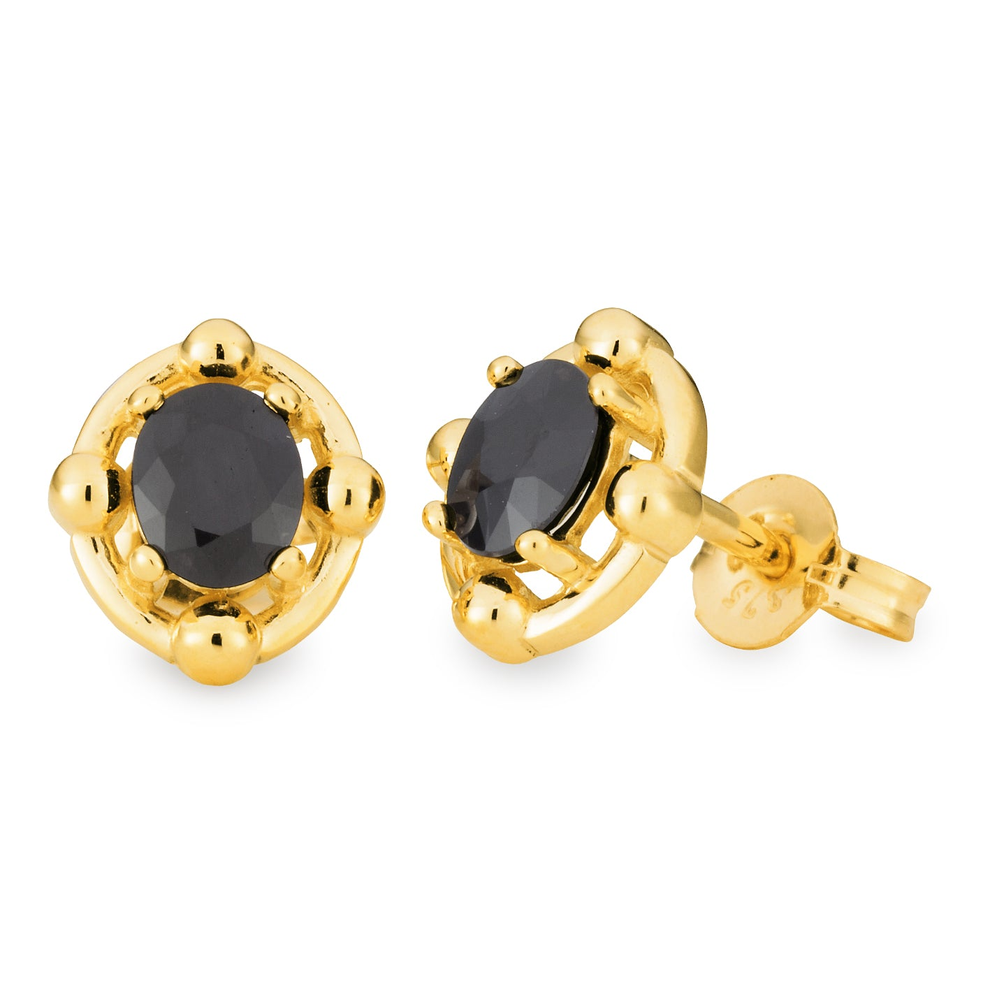 SAPPHIRE (D GRADE) CLAW SET STUD EARRING IN 9CT YELLOW GOLD TDW N/A