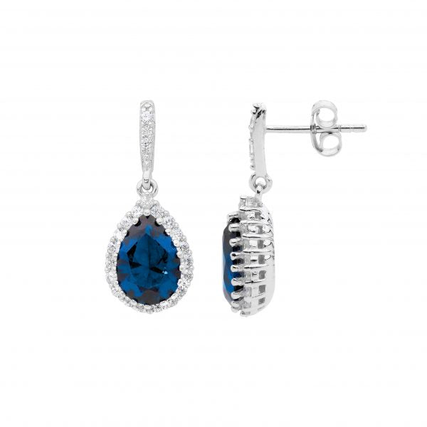 S/S LONDON BLUE PEAR CZ, WHITE CZ SURROUND DROP EARRINGS
