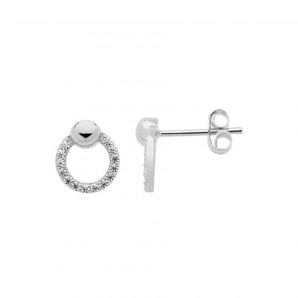 S/S WH CZ 9MM OPEN CIRCLE EARRINGS, BALL FEATURE