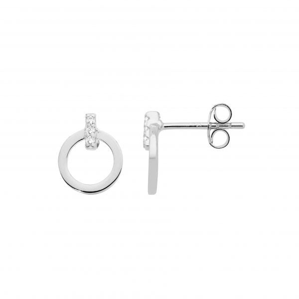 S/S 9MM OPEN CIRCLE, WH CZ BAR FEATURE STUD EARRINGS
