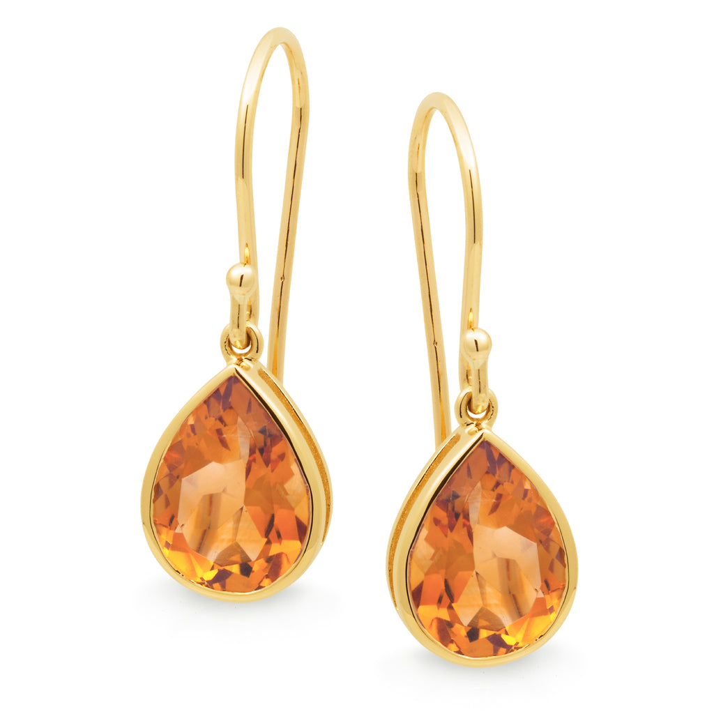 CITRINE  BEZEL SET SHEPHERD HOOK EARRING IN 9CT YELLOW GOLD TDW N/A