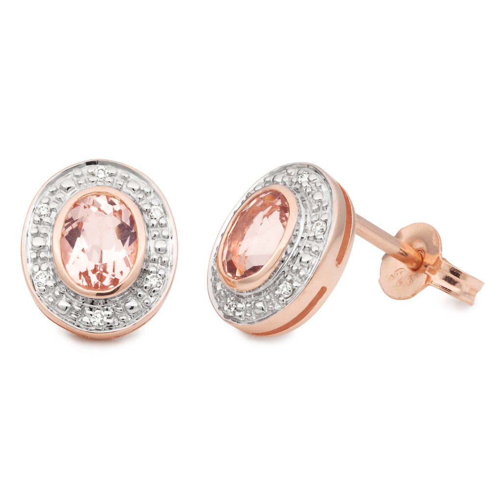 MORGANITE & DIAMOND (SI3 JK) BEZEL/BEAD SET STUD EARRING IN 9CT ROSE GOLD TDW 0.06CT