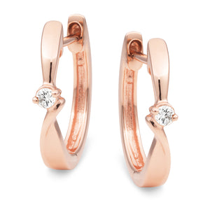 DIAMOND (SI3 JK) CLAW SET HUGGIE EARRING IN 9CT ROSE GOLD TDW 0.04CT