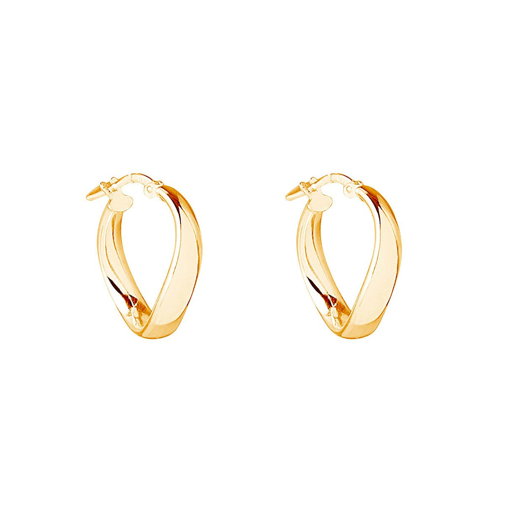 4X19MM YELLOW GOLD (14K 1MC) PLATED SILVER TUBE, CIRCULAR WAVY HOOP EARRING WITH LEVER CATCH, ANTITARNISH FINISH