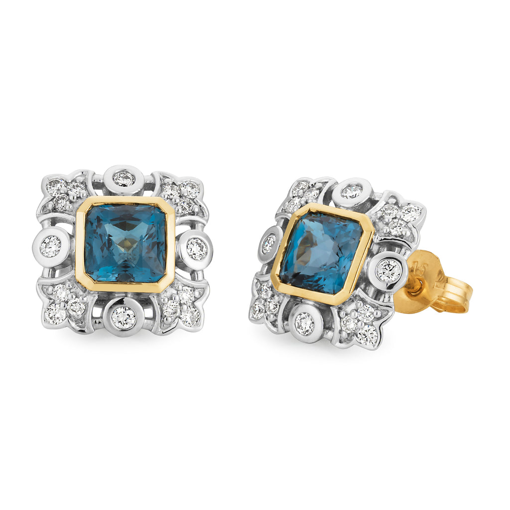 LONDON BLUE TOPAZ & DIAMOND (SI3 JK) BEZEL/BEAD SET COLOURED STONE EARRING IN 9CT YELLOW & WHITE GOLD TDW 0.28CT